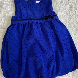 Blue and black polka dot baby girl dress